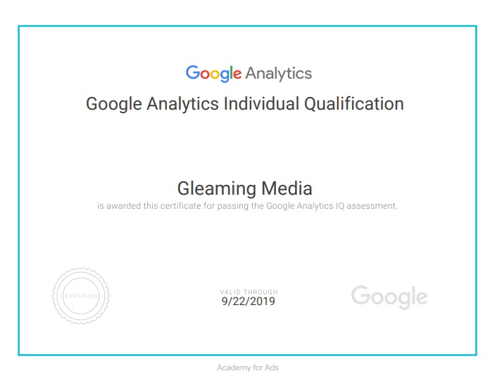 Google Certified Company - Gleaming Media